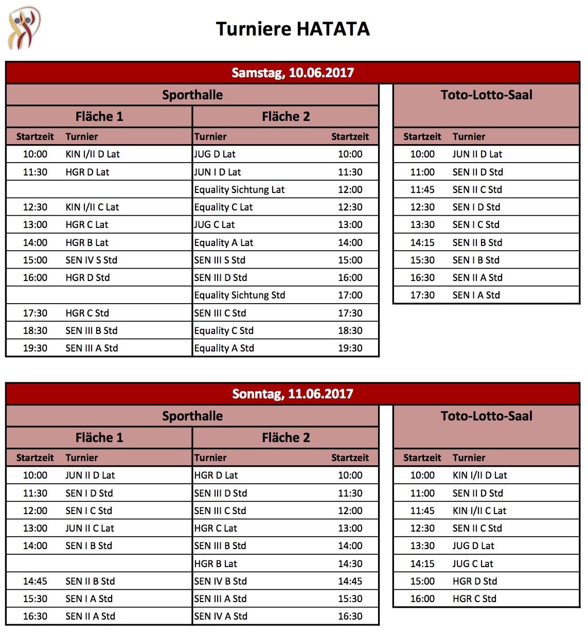 HATATAs 2017 - vorläufiger Turnierplan